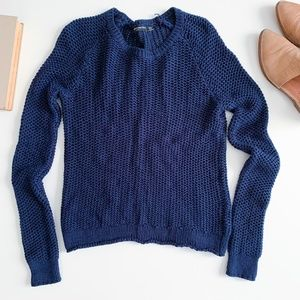 Brandy Melville Navy Chunky Crew Neck Sweater